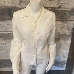 Ann Taylor button down white cotton shirt